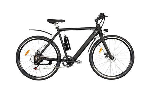 """Bicicleta eléctrica Roadmaster color negro, autonomía 25-30 km, vel. máx. 25 km/h, llantas de 28"""", motor de 250W, tolerancia 110kg, cuadro de aluminio"""