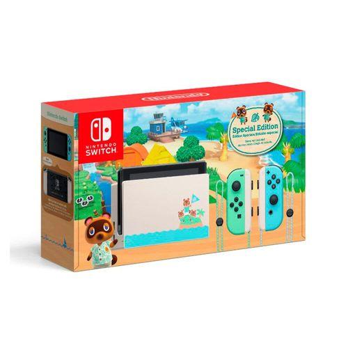 Consola Nintendo Switch Animal Crossing: New Horizon (Edición Especial),32GB, blanco con verde/azul pastel,incluye Joy-Con controles