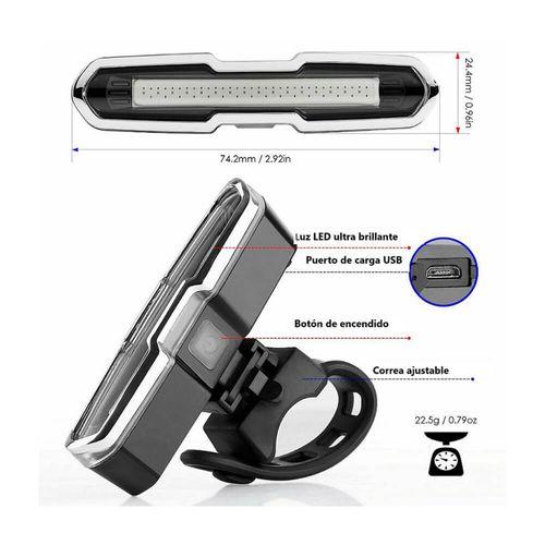 Luz led impermeable recargable USB, 15 lúmenes, 4 modos, luz roja, azul y blanca, dimensiones: 7.5x3x2 cm, hasta 4 horas continuas de uso, ajustable