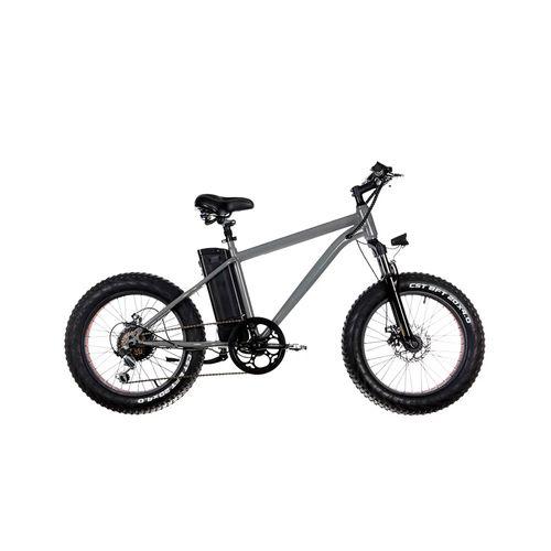 """Bicicleta eléctrica Cruiser gris, autonomía 25-35 km, velocidad máxima 30 km/h, llantas de 20""""x4"""", 6 velocidades Shimano, suspensión y luz delantera"""