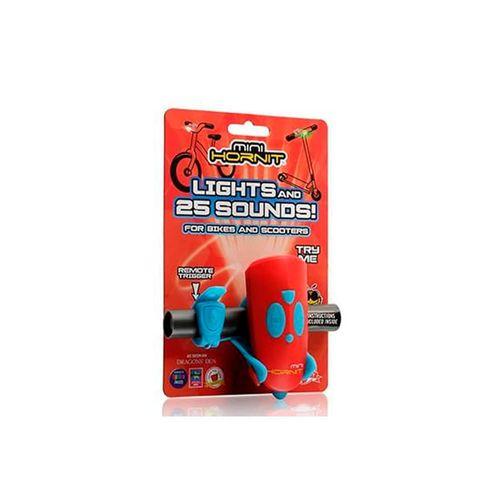 Bocina Mini azul/rojo, con luz blanca y verde, 12 lúmenes, 25 sonidos, 2 pilas AAA, disparador remoto, ajustable para bicicletas y scooters