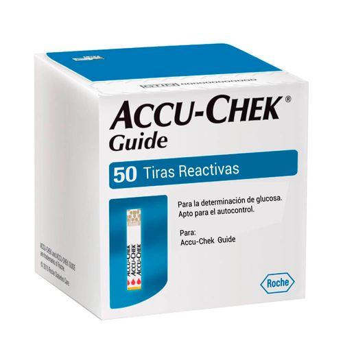 Tiras reactivas para glucosa Accu-Chek Guide x50 unidades. Compatibles con glucómetros Accu-Check Guide.