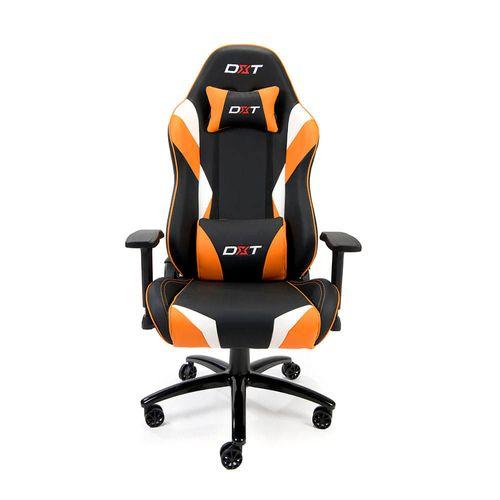 Silla gamer DXT Champion King gas lift clase 4, tapiz cuero pu, máx. 150 kg negro y naranja