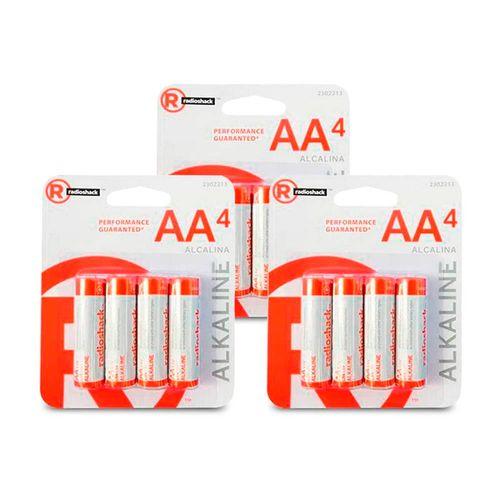 Pilas alcalinas AA Pack X12, larga duración