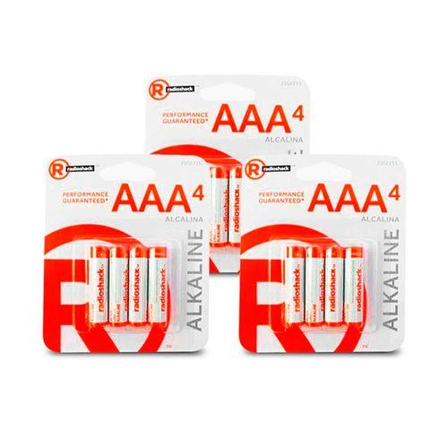 Pilas alcalinas AAA Pack X12, larga duración