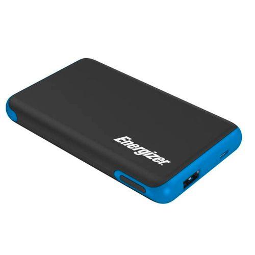 Batería externa de 5,000 mAh color negro con azul