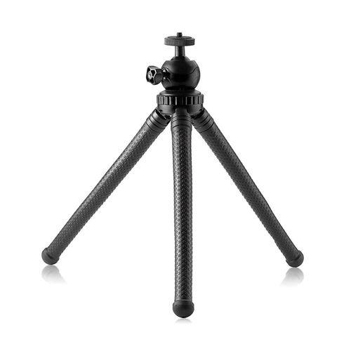 Trípode multiusos Roadtrip X-74-1, altura máx 25 cm, patas flexibles, cabezal giratorio, negro