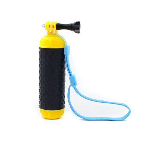 Accesorio: Soporte Flotante para Cámaras de Acción. Incluye Muñequera para mayor Seguridad, Color Amarillo Intenso para localizar en el agua