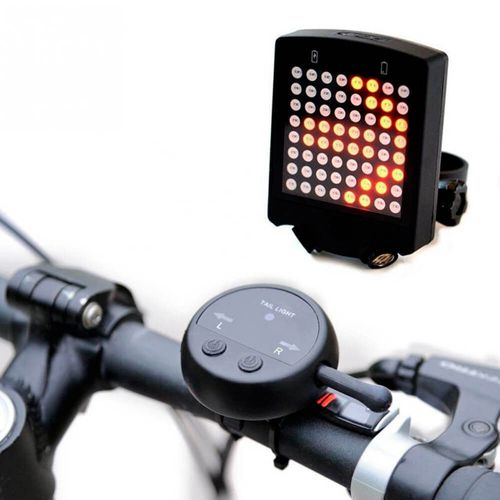Luz led posterior direccional para bicicleta, negro, con control remoto, recargable via USB, impermeable, 64leds, 3 modos de luz, 10 señales distintas