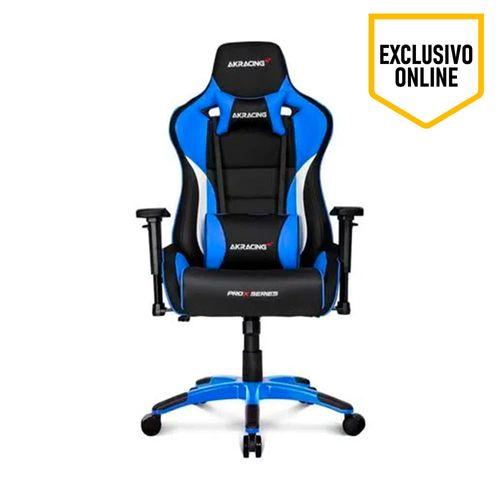 Silla Gaming Pro X Series Color Negro y Azul, Gas Lift Clase 4, Soporta 150 Kg