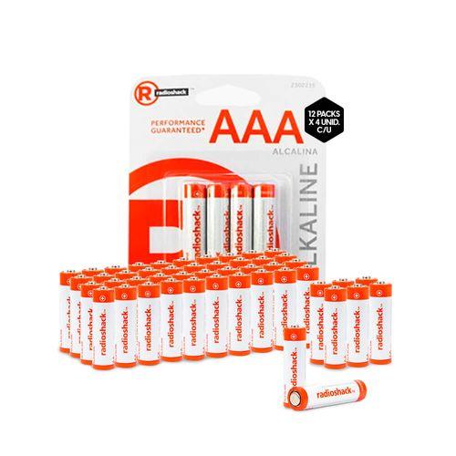 Pilas Alcalinas AAA X 48 Radioshack Larga Duración