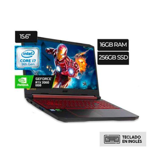 "Laptop Acer Nitro 5, 9th gen Core I7 9750H,pantalla 15.6"" FHD IPS 144hz , RAM 16gb ddr4, 256gb , GeForce RTX 2060 6gb Video, teclado luminoso"