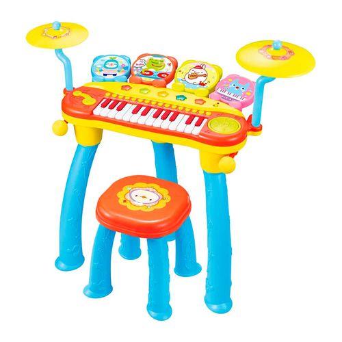 Piano Tambor Electrónico de Juguete, 24 Teclas, 8 Melodías y Luces, Entradas para Micrófono y MP3, Multicolor