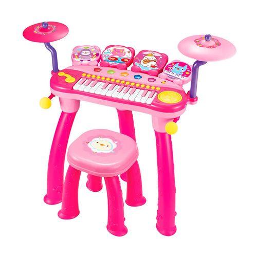 Piano Tambor Electrónico de Juguete, 24 Teclas, 8 Melodías y Luces, Entradas para Micrófono y MP3, Color Rosado