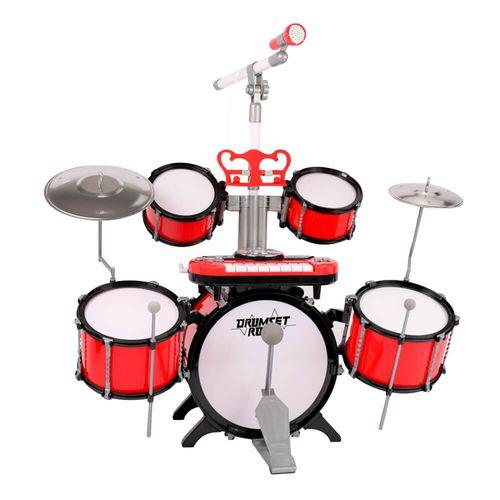 Set de Batería y Piano de Juguete de 8 teclas con Función de DJ, 8 Canciones DEMO, 10 Luces Rítmicas, Incluye Microfono, Atril y Asiento
