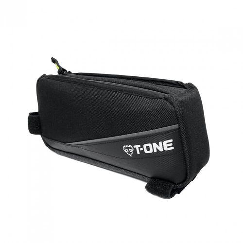Bolso para marco de bicicleta T-One negro, 3 compartimentos interiores, Material: 600 Denier Nylon, TPU Tamaño: 210mm x 95mm x 50mm Peso: 150 g