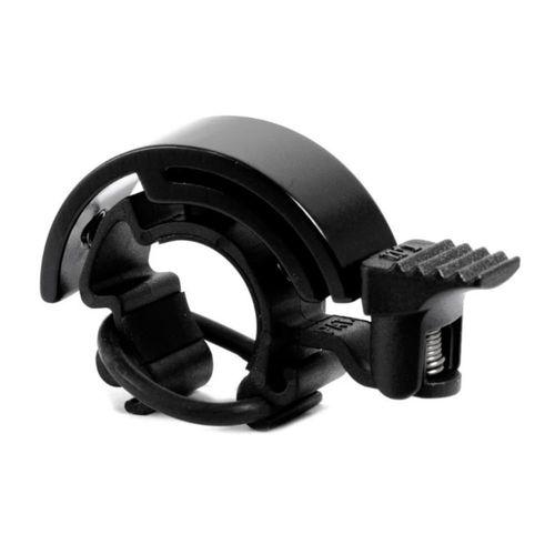 Timbre para scooter y bicicleta Q-Bell semicirculo color negro mate, enganche en el manubrio con correa de silicona