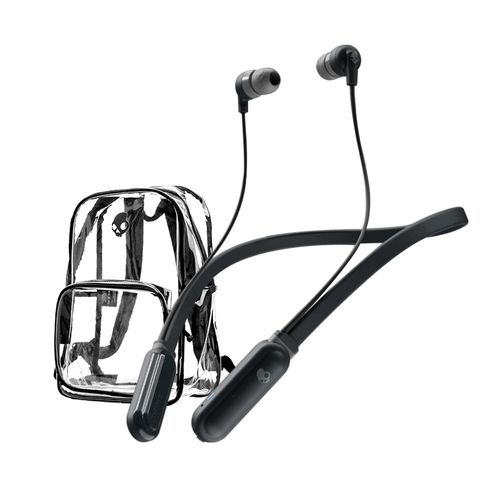 Audífono Bluetooth In ear INKD banda cuello + Mochila transparente playera