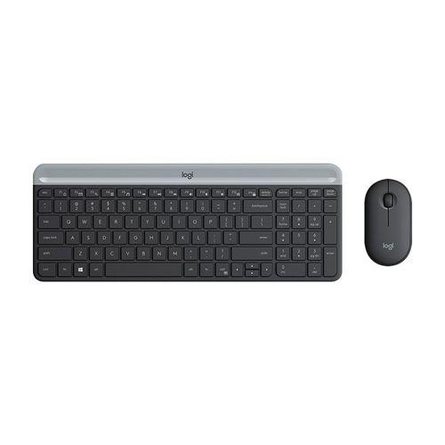 Combo Teclado y Mouse Inalámbrico Slim MK470 Conexión USB Plug & Play Color Grafito