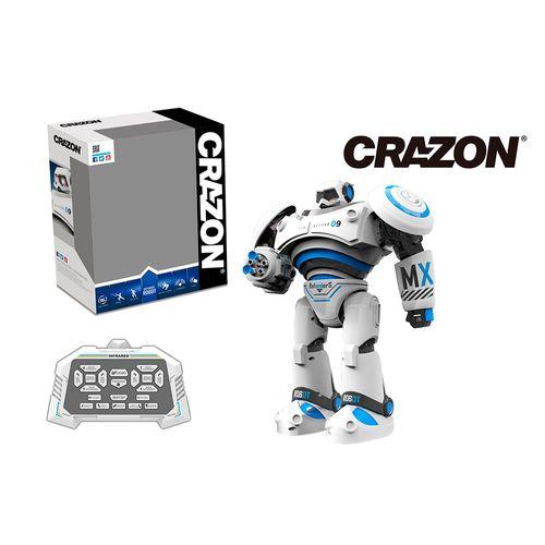 Robot a Control Remoto que Camina, Baila y Dispara, Emite Luces y Sonidos, Función para programar movimientos, Color Blanco con Celeste