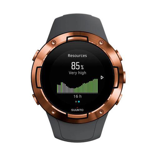 Smartwatch Suunto 5, ideal para entrenamientos,sumergible 50 metros,hasta 14 días de duración bateria,más de 80 modos de deporte, color cobre grafito