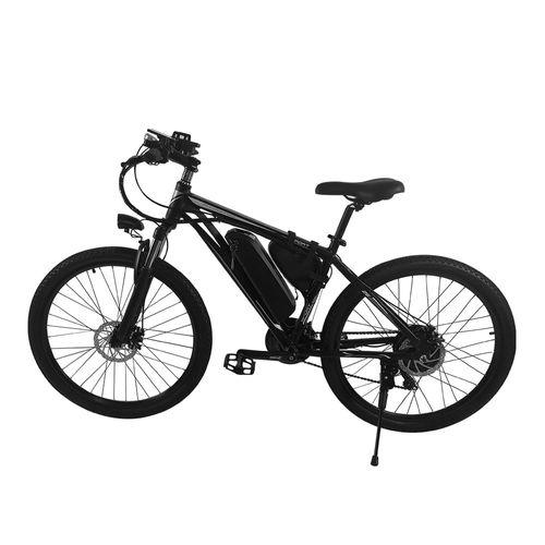 """Bicicleta eléctrica Raptor gris/negro, autonomía 35-40 km, vel máx 25km/h, llantas de 26"""", suspensión y luz delantera, holder para celular y bocina"""