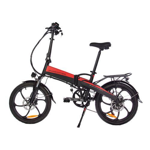 """Bicicleta eléctrica Smascooter SY-205 rojo/negro, autonomía 35-40 km, vel máx 20km/h, llantas de 20"""", suspensión delantera, plegable, frenos de disco"""