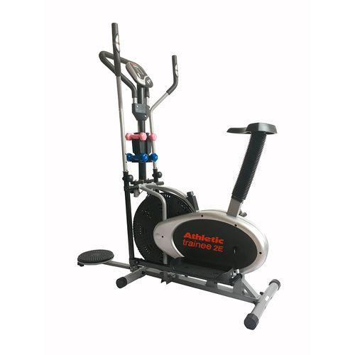 Eliptica Athletic 2E, velocidad, tiempo, distancia, calorias, peso máx 110kg, 2 pares de mancuernas, rueda Fan Wheel, twister para cintura y asiento