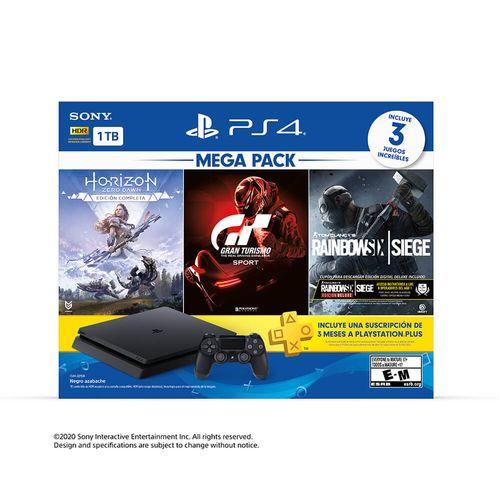 Consola Ps4 1Tb Megapack 16 (Tom Clancy'S Rainbow Six Siege,Horizon Zero Dawn,Gran Turismo Sport + 3 Meses Playstation Plus)