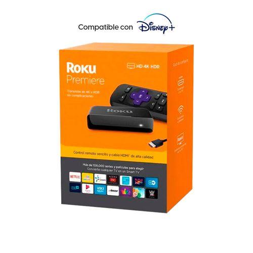Convertidor a Smart TV Roku Premiere, Reproductor Streaming Portátil 4K, Con control remoto para TV, Incluye Cable HDMI de Alta Velocidad