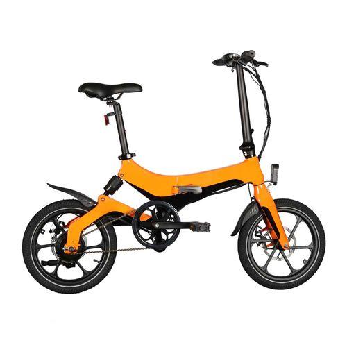 "Bicicleta eléctrica Onebot S6, color naranja, autonomía 25-35 km, vel. máx 25 km/h, llantas de 16"", motor de 250W, tolerancia 120kg, plegable imantado"
