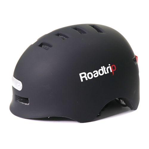 Casco urbano Roadtrip negro mate talla L, luz blanca delantera, luz posterior roja de 3 modos, ajustable, 14 vías, carga USB, tamaño de cabeza 58-61cm
