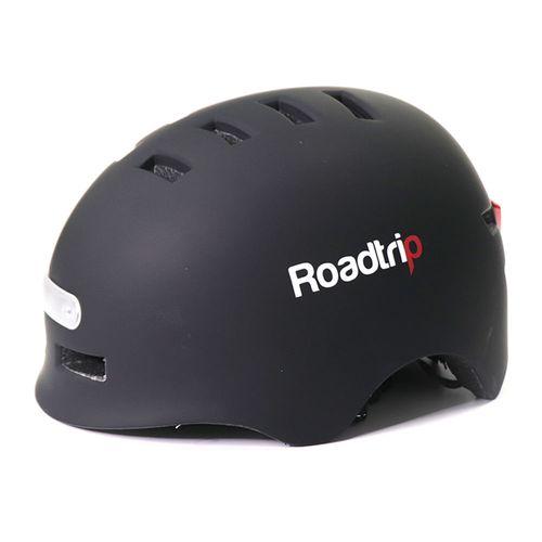 Casco Roadtrip urbano M luz delantera blanco, luz posterior rojo, 14 salidas, 54-57 cm, negro mate