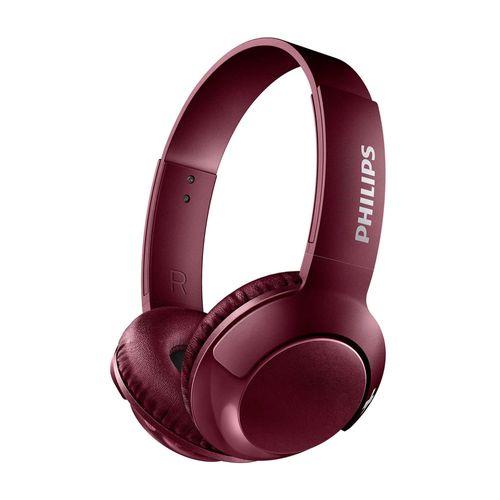 Audífono Bluetooth On Ear BASS+ con micrófono incorporado, diseño plegable, gran aislamiento de ruido externo, controles integrados, Rojo