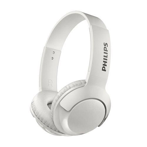 Audífono Bluetooth On Ear BASS+ con micrófono incorporado, diseño plegable, gran aislamiento de ruido externo, controles integrados, Blanco