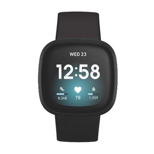 Smartwatch Fitbit Versa 3,pantalla AMOLED, mide valores corporales, resistente al agua, recibe notificaciones, llamadas, GPS,Negro