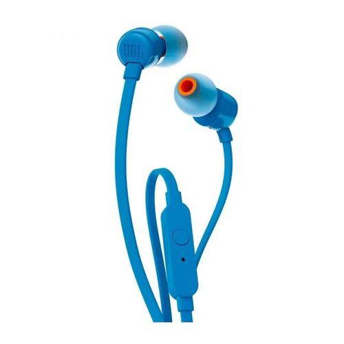 Audífono In Ear con cable flat, micrófono, conector 3.5mm y sonido bass T110 JBL Azul