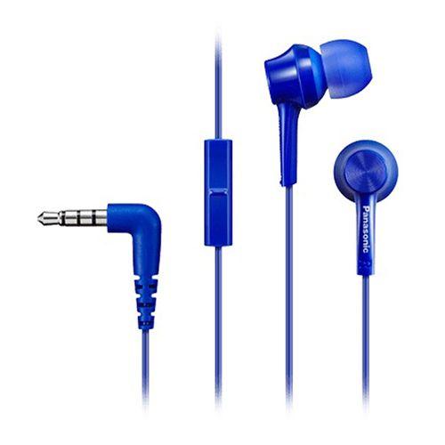 Audífono in ear con micrófono Panasonic RP-TCM115E almohadillas de silicona, conector 3.5 mm, azul