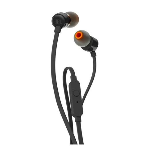 Audífono In Ear con cable flat, micrófono, conector 3.5mm y sonido bass T110 JBL Negro