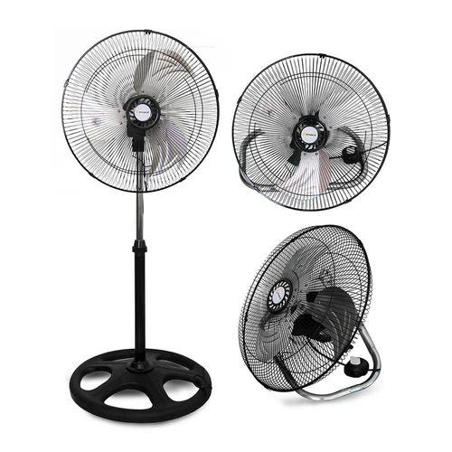 """Ventilador 3 en 1 de metal, diámetro de 18"""", 3 velocidades, altura ajustable, base redonda, 60w"""