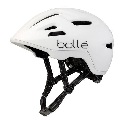 Casco Bollé Stance Matte White talla M, tiras reflectantes, malla integrada, sistema Click-to-FitTM, ajuste fácil y preciso, tamaño de cabeza 55-59 cm