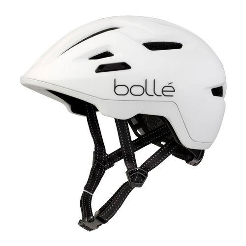 Casco Bollé Stance Matte White talla L, tiras reflectantes, malla integrada, sistema Click-to-FitTM, ajuste fácil y preciso, tamaño de cabeza 59-62 cm