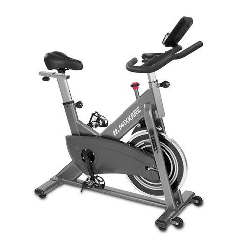 Bicicleta estacionaria de spinning MAX 100, 136kg de capacidad, ajuste manual de resistencia magnética, ruedas de transporte,ciclocomputador magnético