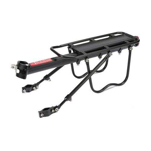 Rack portabulto negro posterior para bicicleta, de aluminio, soporta hasta 15kg