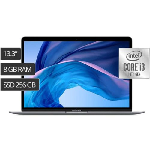 "Laptop MacBook Air 13"" Retina (2020), procesador 10thG Core i3 de 2 núcleos a 1.1 GHz, Touch ID 8GB RAM, 256GB SSD - Space Gray"