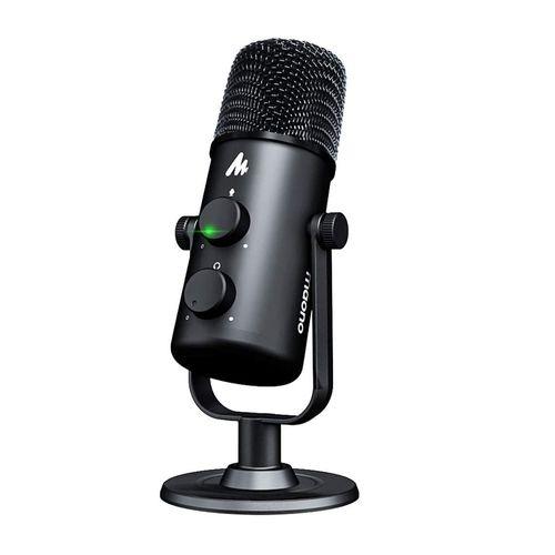 Micrófono de podcast USB para escritorio omnidireccional/cardioide, control de cero latencia, botón de silencio, base 360° antideslizante, plug & play