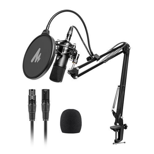 Set de micrófono condensador XLR profesional para estudio, montura antishock, filtro pop, brazo articulado con soporte giratorio