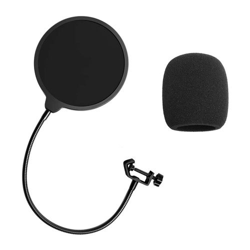 Set de filtros antiviento para micrófonos, protector de pantalla para micrófono y parabrisas, doble capa, con brazo de estabilización flexible de 360°