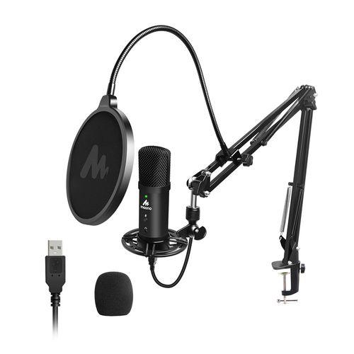 Set de micrófono condensador USB, botón silenciador, montura antishock, filtro pop, brazo articulado con soporte giratorio