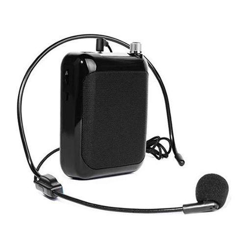Amplificador de voz portátil con micrófono de vincha, batería recargable, pantalla Led, entrada USB, Micro Sd, Aux-in, modo FM